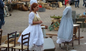 Flemish frills … a trader at Tongeren's Sunday antiques market