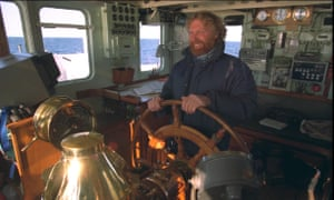 Captain Jon Castle on the MV Sirius as the Greenpeace vessel patrolled sensitive marine areas in the North Sea, off the east coast of Scotland in 1996.
