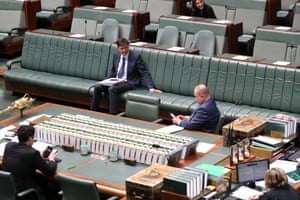 The minister for emissions reduction Angus Taylor chats before QT