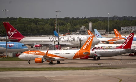 Grounded aircraft at Manchester airport in May