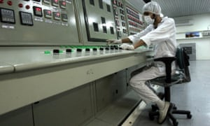 An technician works at a nuclear facility outside Isfahan in Iran.