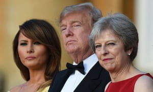 Melania Trump with President Trump and Theresa May at Blenheim Palace