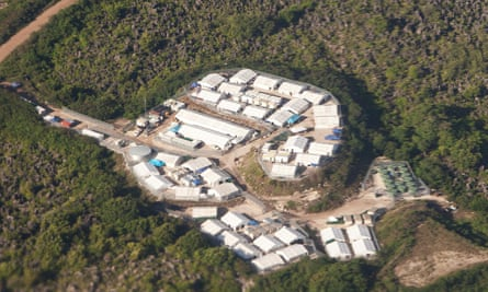 Aerial view of the 'Topside' detention centre in the middle of Nauru.