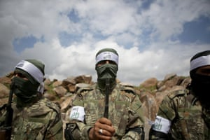 Free Syrian Army members during military training