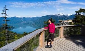 Spirit Viewing Platform, view over Howe Sound fjord. Sea to Sky Gondola, Squamish, British Columbia, Canada.