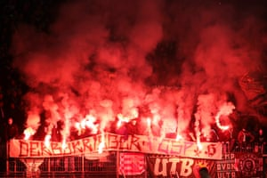 Werder Bremen fans light flares during their German DFB Cup quarter-final