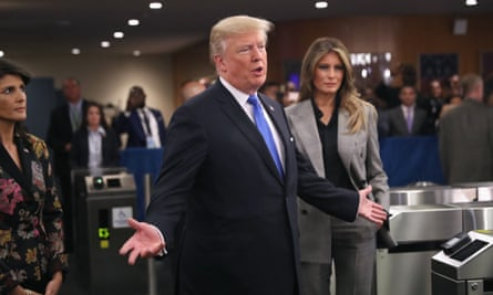 Trump arrives at the UN with first lady Melania. Nikki Haley, the US ambassador, is on the left.