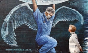 Melbourne mural of a health worker