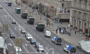 A convoy of police vehicles before a scheduled protest in Minsk.