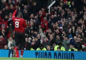 Romelu Lukaku of Manchester United celebrates scoring their second goal.