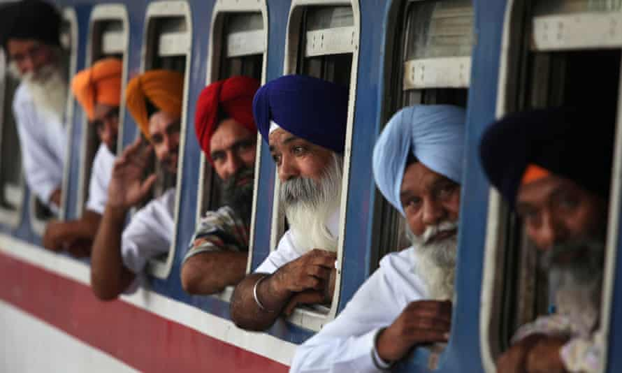 Sikh pilgrims inside a special train to Pakistan, Amritsar, 2010
