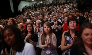Members applauding at the Labour conference.