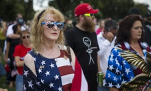 Trump fans gathered to support the president as he struggles through the early months of his term