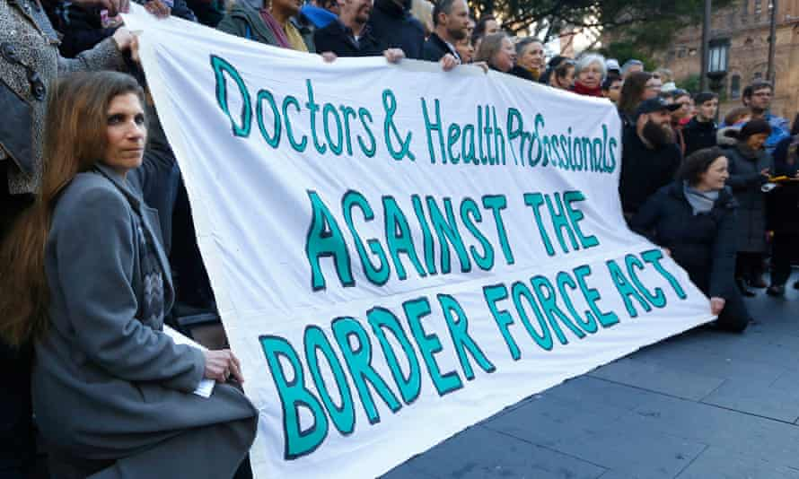 A protest by more than 200 doctors and allied health professionals at Sydney's Town Hall to oppose the secrecy provisions of the Border Force Act in July 2015