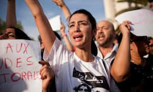 Tunisians demonstating against the result of the elections held in October 2011.