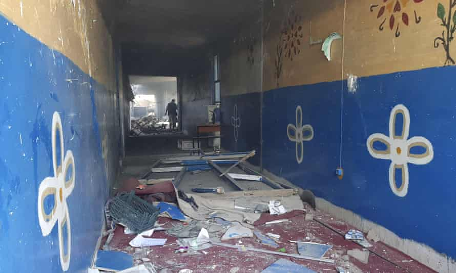 A damaged school on 8 August 2021 after airstrikes in Lashkar Gah.