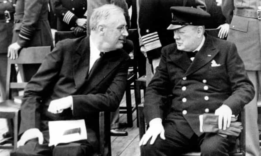 US president Franklin D. Roosevelt, left, and UK prime minister Winston Churchill during the Atlantic Conference at Argentia Bay off Newfoundland in August 1941.
