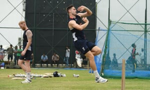 Chris Woakes bowling in the nets in Sri Lanka, with Ben Stokes in the background