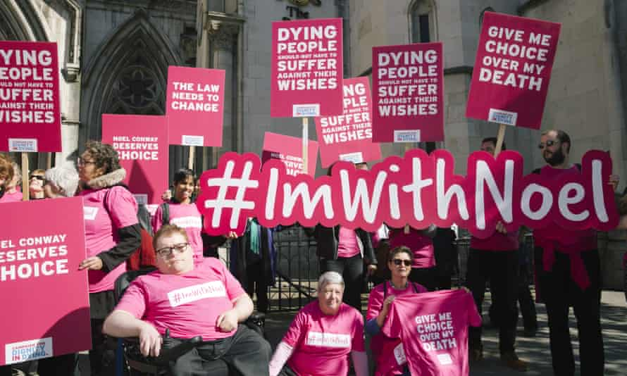 Campaigners from Dignity In Dying and supporters of Noel Conway