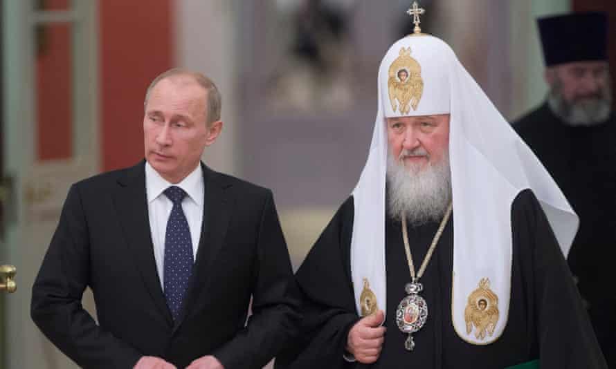 Russia's President Vladimir Putin with Patriarch Kirill, head of the Russian Orthodox church.