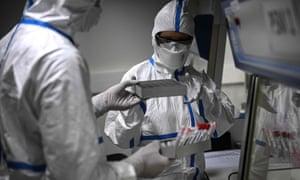 Laboratory technicians at  the Pasteur Institute in Paris.