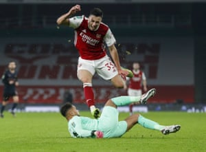 Arsenal's Gabriel Martinelli reacts as he leaps over Manchester City's goalkeeper Zack Steffen.