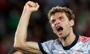 Bayern Munich's Thomas Muller celebrates scoring their first goal.