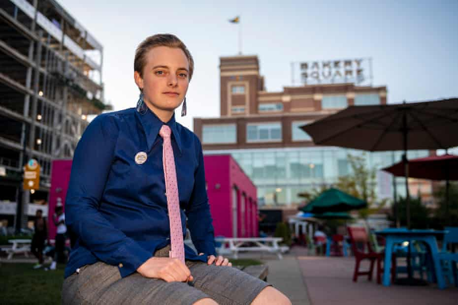 Johanne Rokholt, a Google contract worker, in Pittsburgh's Bakery Square, where the Google office is located.