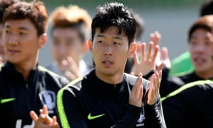 Son Heung-min at training in Russia as South Korea prepare for Monday's game against Sweden.