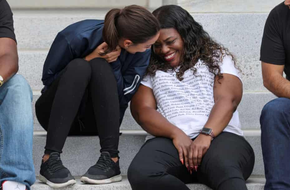 Alexandria Ocasio-Cortez and Cori Bush celebrate the White House decision on the moratorium on evictions in Washington.