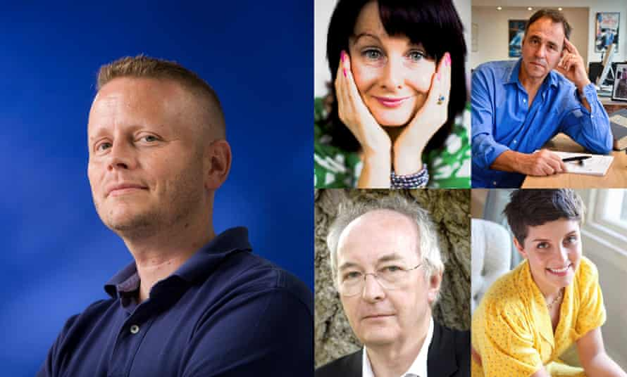The writer Patrick Ness (left), with fellow authors Marian Keyes (top left), Anthony Horowitz (top right), Philip Pullman (bottom left) and Jessie Burton.