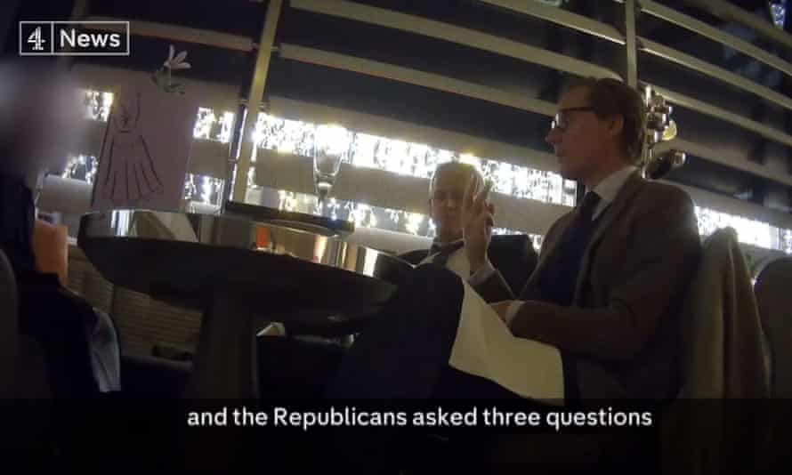 Cambridge Analytica chief executive Alexander Nix (right) talking about his company's role in the US presidential election to an undercover reporter for Channel 4 News.