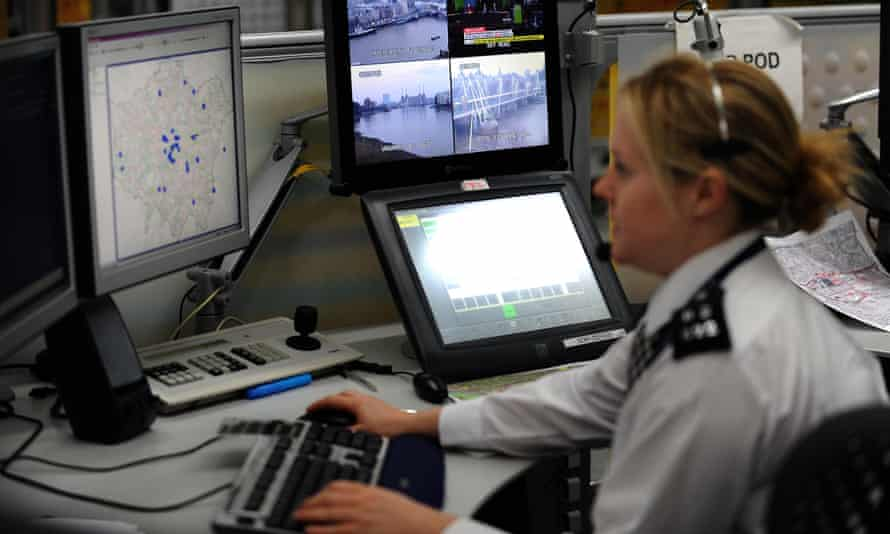 A worker in the Metropolitan police control room