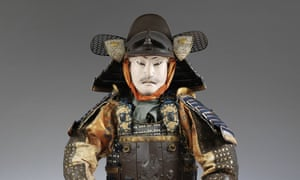 A mid 19th-century Japanese suit of armour, on display in the V and A
