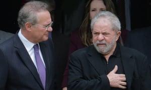 Luiz Inácio Lula da Silva, right, with Brazil's senate president, Renan Calheiros.