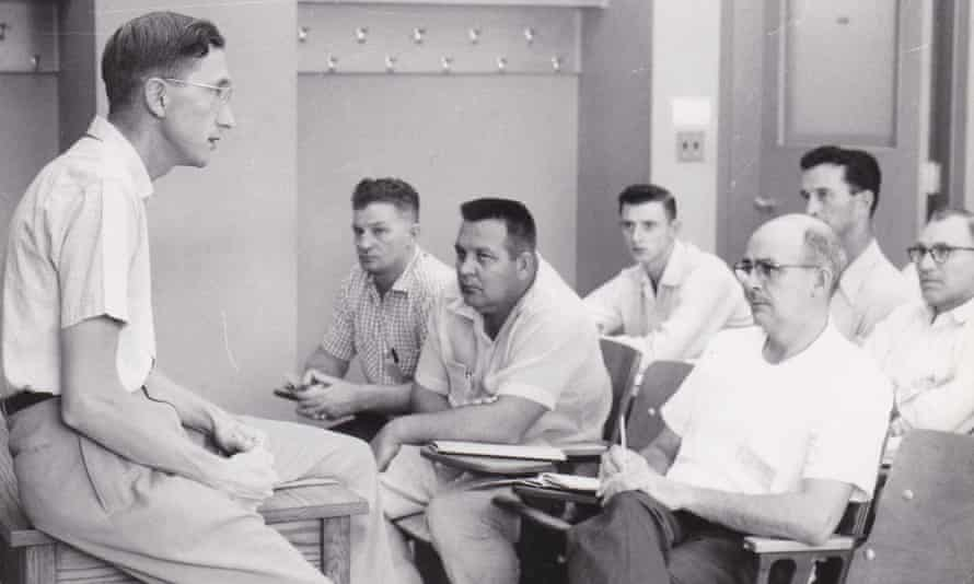 John Harrison, left, teaching at Wisconsin University's School for Workers in the early 1960s