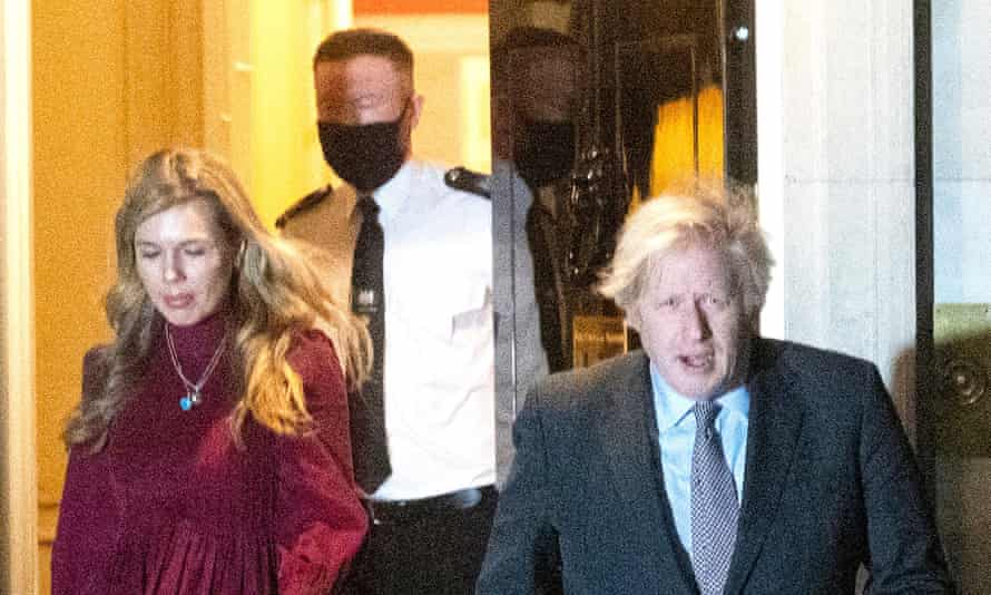 Boris Johnson and Carrie Symonds on the doorstep of 10 Downing Street