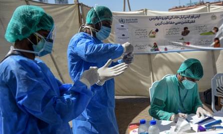 A coronavirus testing point in Karachi