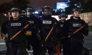 Riot police during a demonstration against police brutality in Charlotte, North Carolina, in September 2016. For the most part the National Law Enforcement Museum is uncritical and steers clear of politics.