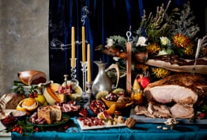 Food & Drink: Feast Your Eyes by Louise HaggerCommissioned for a Sunday Times story about Christmas. 'It's inspired by old masters' paintings, depicting sumptuous feasts of Christmas meats, cheeses and desserts'