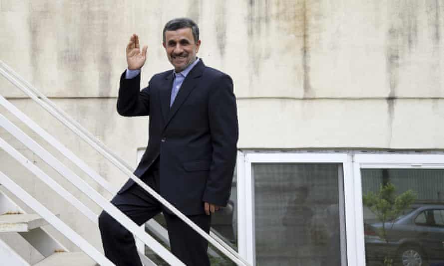 Mahmoud Ahmadinejad in the courtyard of his office in Tehran last weekend.