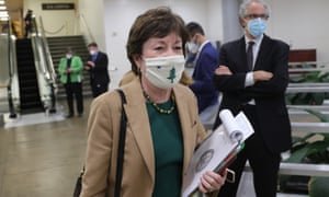 Sen Susan Collins departs after the fourth day of the second impeachment trial of former president Donald Trump.