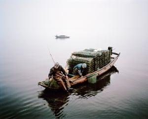 Seaweed and shrimp trawlers - Honghu, China 2015