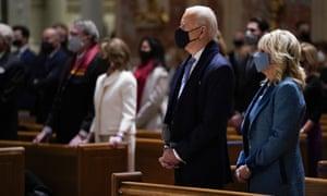 Joe Biden and Jill Biden attending mass on Biden's inauguration day.