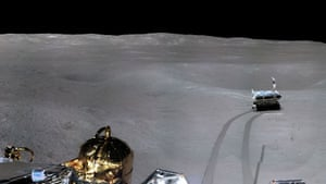 A view from the lunar rover Yutu-2 or Jade Rabbit 2 on the far side of the moon taken by China's Chang'e-4 lunar probe.
