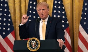 Donald Trump speaks during the 'social media summit' at the White House on Thursday in Washington DC.