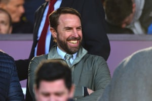 Gareth Southgate is enjoying the match from the stands
