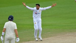 Mohammad Abbas appeals successfully for an LBW decision against Dom Sibley.