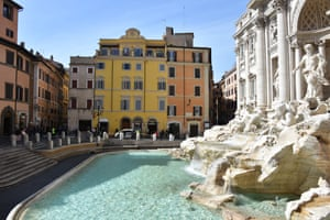 The Trevi Fountain is closed for visitors in Rome, Italy on March 10, 2020, within the measures taken following the coronavirus (Covid-19) outbreak.