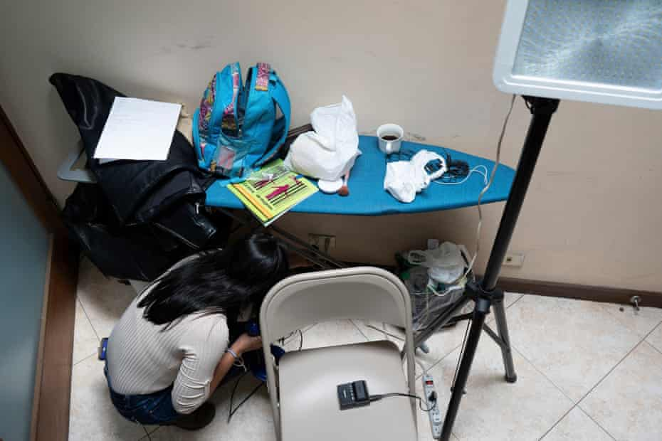 Leticia Gaitán, 29, preparing for recording a news segment at the provisional studio she has set up in San José with some colleagues from 100% Noticias, the independent news channel that was closed down by the Nicaraguan government on December 21st